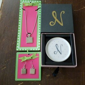 3pc N Monogram Necklace,  Earrings, & Trinket Dish